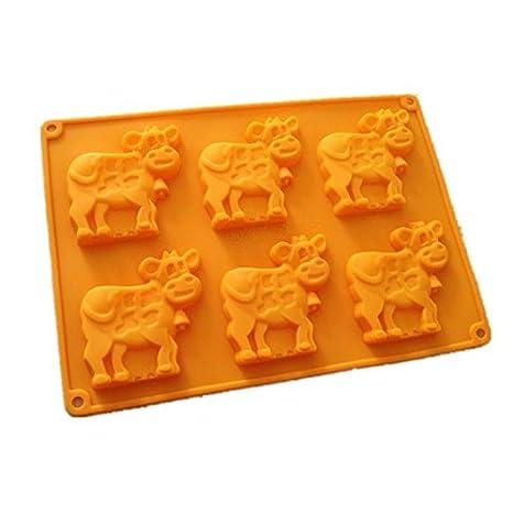 Allforhome 6 vacas PASTEL de silicona molde para hornear molde para hornear moldes de jabón hecho a mano para galletas Chocolate moldes magdalenas tazas: ...