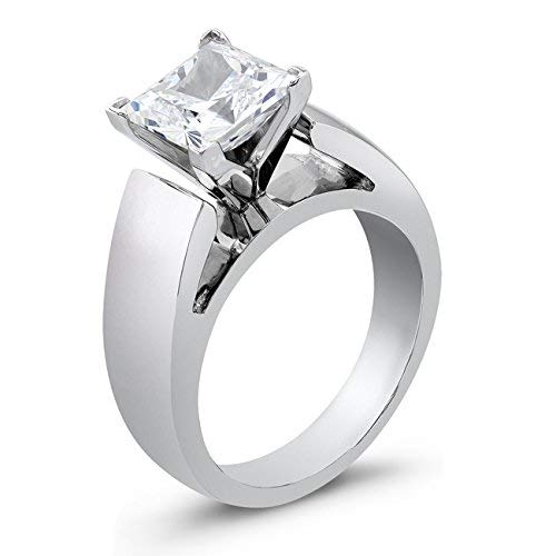 Women's Princess Cut cathedral engagement ring 2.00 TCW ()