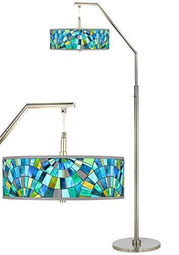 Lagos Mosaic Giclee Shade Arc Floor Lamp - Giclee - Giclee Lamp Nickel Floor