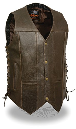 Milwaukee Leather Mens 10 Pocket Side Lace Retro Brown Leather Vest - 48 (Retro Brown Vest Side Laces)