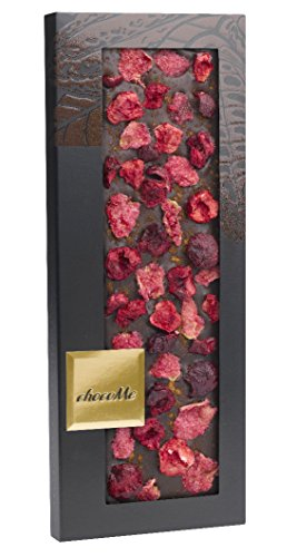 Chocome Fortina Finest Selection 65.1% Dark Chocolate Topping, Rose Petals/Sour Cherry/Cinnamon, 3.5 Ounce