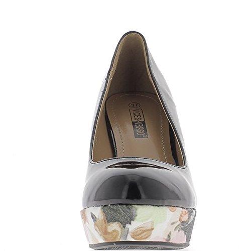 ChaussMoi Pompe deselezionata Donna Vernice Nera 10,5 cm Tacchi e Piattaforma Fiorito