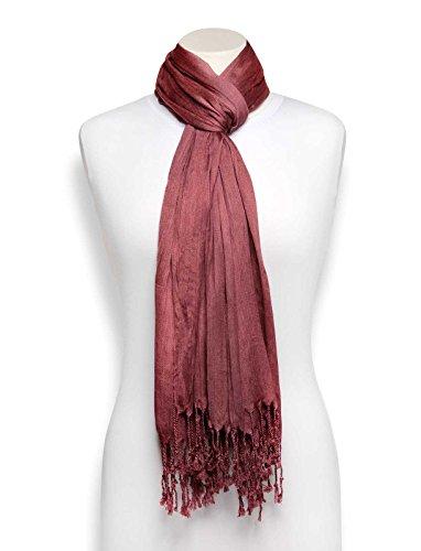 Silk Shawl Antique Wrap Scarf - Head Scarf Hijab Wrap Long Cotton Silk Shawl (Antique Rose)