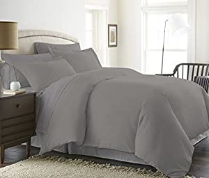 Reliable Bedding 3-Piece Solid Duvet Cover Set-600 TC Egyptian Cotton Ultra Soft, Durable,Easy Care & Fade Resistant Premium Bedding Collection !!! (Twin/Twin XL, Silver Grey)