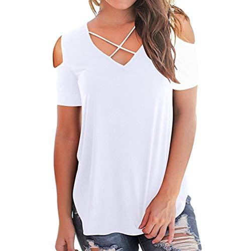 A Spalla Donna Collo Manica Sexy Camicia Corta V Bianca Moda Tempo Libero Traspirante Sciolto off T Profondo Yujeet The Morbido Shirt P1wTqX44
