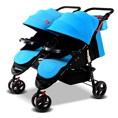 Double Baby Stroller Detachable Twin Tandem Bassinet Pram Carriage Stroller Adjustable Sit and Stand Four Seasons Universal (Blue)