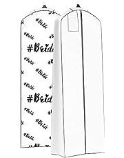 Bolsa de ropa para vestido de novia reforzada, para vestidos largos y hinchados, 182,8 x 61 cm, 50,8 cm (novia blanca)