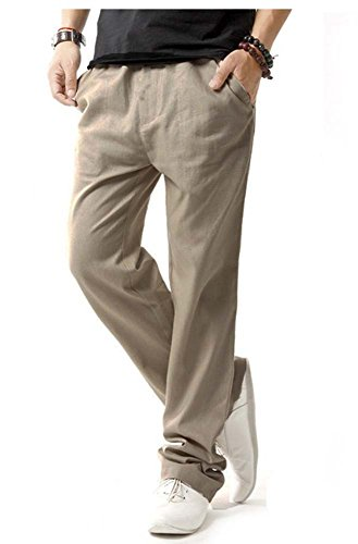 Pantalon Pour Décontracté Léger Élastique En Avec Poches Taille Lin Hommes Kaki À xA1xaCqpw