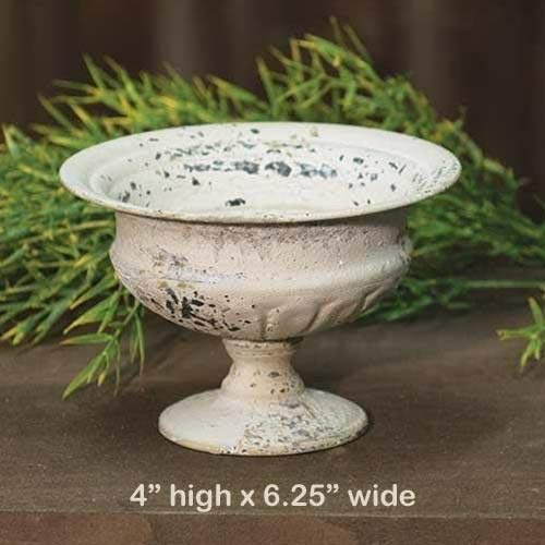 - Primitive & Country Style Chippy Metal Urn Planter Cream - Shabby Chic/French Country 6.25''w x 4''h Rustic Home Decor