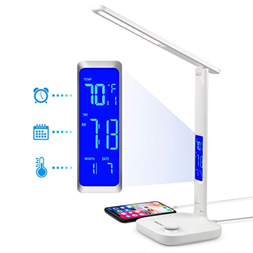INNOKA Dimmable LED Desk Lamp, Eye Care Lamp, 3 Color Modes, 180 Degree Adjustable, with USB Charging Port [Built in LCD Display] shows Temperature, Time for Office/Home by INNOKA