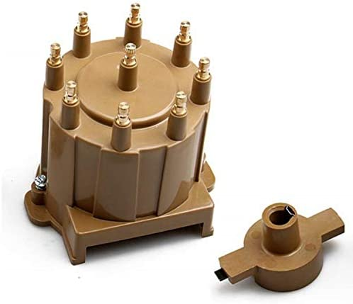 CarBole Ignition Distributor Cap & Rotor Kit Distributor Cap Brass Terminal for GM Tan HEI