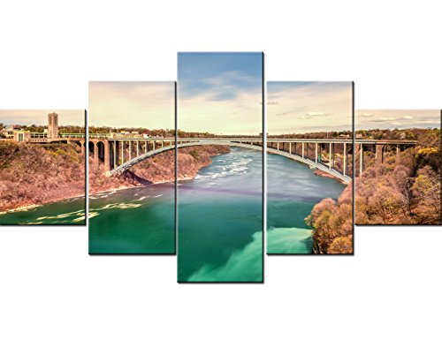 Art Work for Home Walls 5 Panel Canvas Niagara Falls Pictures, Rainbow Bridge connecting Canada and USA Paintings Artwork Modern Home Decor for Living Room Framed Stretched Ready to Hang(60''Wx32''H)