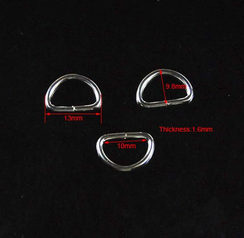 """100pcs 3/8""""(10mm) Webbing Non Welded Dee Rings Strapping FLQ010 (Silver)"""