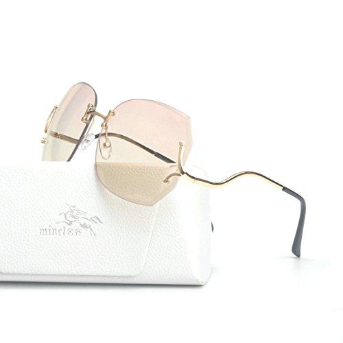 MINCL/Rimless Oversized Vintage Retro Style Eye Glasses Sunglasses (gold-gradient pink, gold-gradient - Aviator Rimless Eyeglasses