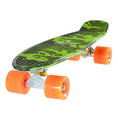 Land Surfer Cruiser Skateboard 22 Inch Camouflage Board Solid Orange Wheels