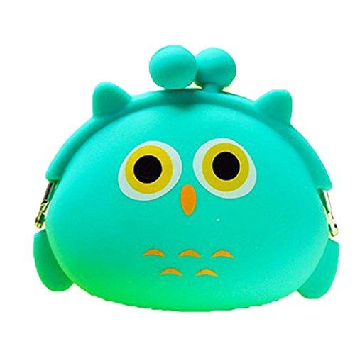Rukiwa Coin Bag, Mini Purse Soft Surface Fastener Female Cartoon Silicone Coin Bag (Green) (Oval Coin)