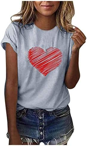 FINME Womens Heart-Shaped Print Short Sleeve T-Shirt Casual Loose Summer Tops Classic Graphic Tees
