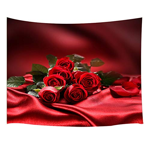 JAWO Flower Decor Tapestry Wall Hanging, Valentine's Day Rose Flower on Red Curtain, Polyester Fabric Wall Tapestry for Home Living Room Bedroom Dorm Decor 80W X 60L ()