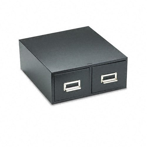 Buddy Products 2 Drawer Card File, Steel, 4 x 6 Inches, Black (1646-4)