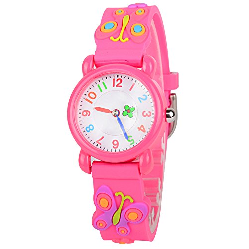 Venhoo Kids Watches Cartoon Waterproof Silicone Children Wristwatches Time Teacher Gifts for Boys Girls (Pink Buttery)