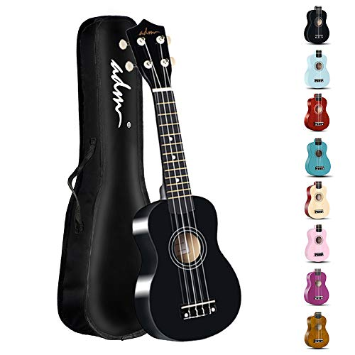 ADM Beginner Ukulele 21 Inch Soprano Kids Starter Pack Bundle with Gig Bag, Strings, Tuner, Fingerboard Sticker, Chord Card, Black]()