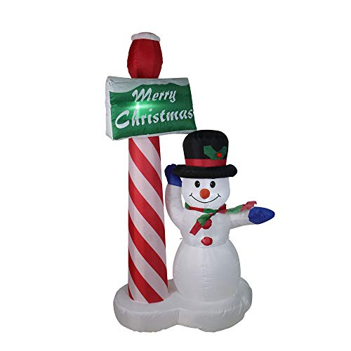 - Northlight 6' Inflatable Lighted Snowman with Merry Christmas Sign Christmas Yard Art Decoration