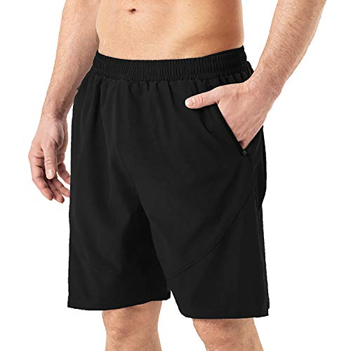 HMIYA Men's Casual Sports Quick Dry Workout Running or Gym Training Short with Zipper Pockets(Black,S)