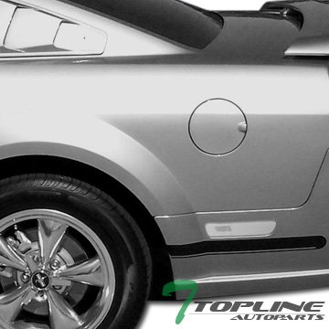 Topline Autopart Crystal Clear Rear Bumper Side Marker Reflector Lights Lamps 05-09 Ford Mustang