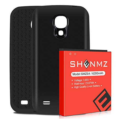 Upgraded SHENMZ 6200mAh Extend Battery for Galaxy S4, at&T I337, Verizon I545, Sprint L720, T-Mobile M919, R970, I9500, I9505, Galaxy S4 Replacement Battery and Black Back Cover and TPU Case
