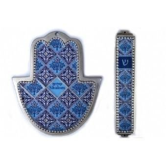 (Blue mosaic 2 piece Hamsa and Mezuza set)