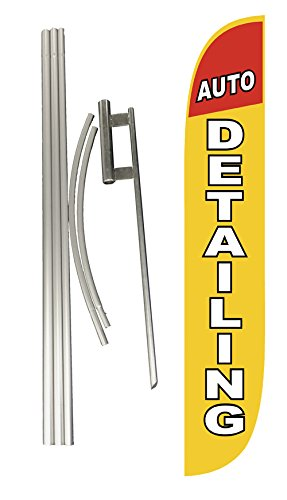 LookOurWay Auto Detailing Feather Flag Complete Set with Poles & Ground Spike by LookOurWay