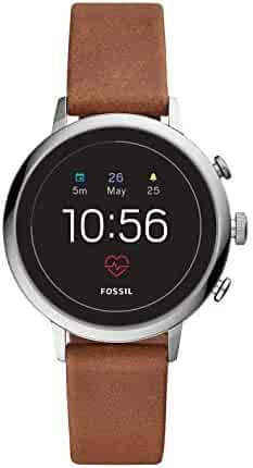 Fossil Women's Gen 4 Q Venture HR Stainless Steel and Leather Touchscreen Smartwatch, Color: Silver, Brown (Model: FTW6014)