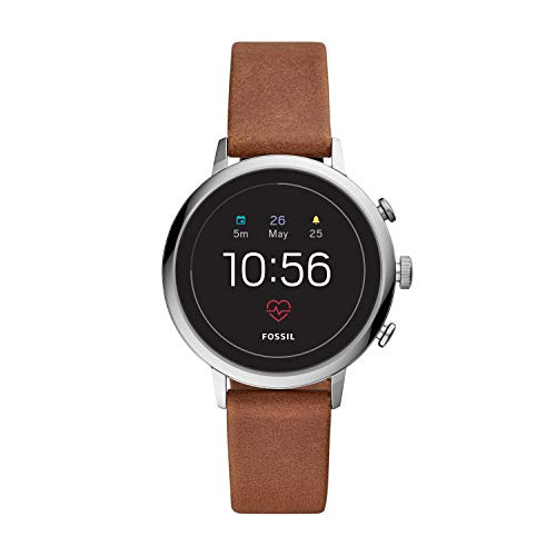 Fossil Women's Gen 4 Venture HR Stainless Steel and Leather Touchscreen Smartwatch, Color: Silver, Brown (Model: FTW6014)