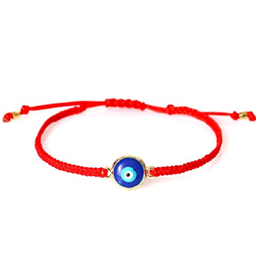 Red String Navy Blue Evil Eye Bracelet, 14k Gold Plated Evil Eye - Gold Navy Plated