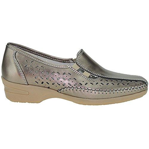 S@KUT - Zapato Comodón En Piel Y Calado - Modelo 356 BRONCE