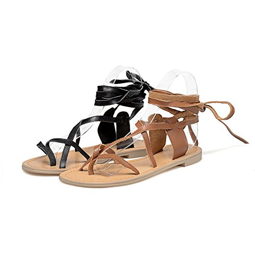 Sandalias De Transpirable WSXY De L1707 Tirantes Mejorar Romanos camel Y El Mujer Sandalias Prima Planas En Moda KJJDE Chanclas Tobillo IfwZOaqf