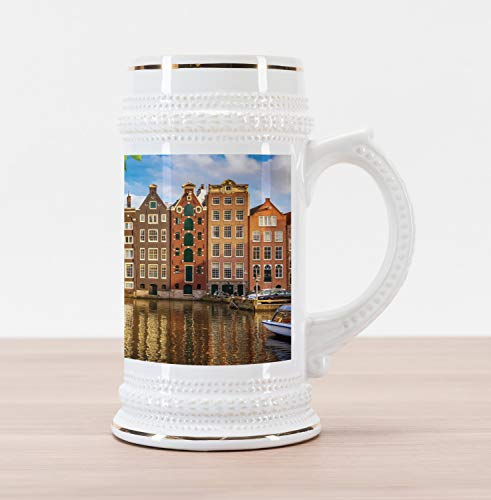 - Lunarable European Beer Stein Mug, Old Buildings in Amsterdam Nothern Fairy Cultural Nertherlands City with River, Traditional Style Decorative Printed Ceramic Large Beer Mug Stein, Multicolor