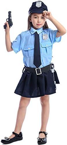 KIRI 子供 コスプレ 女の子 警察官 仮装 婦人警官 ガールズ ポリス ハロウィン 手錠付き XS ブルー