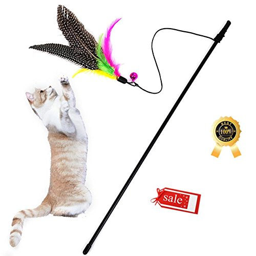 Wakeu Cat Toy Wand Feather with Bell Cat Toy Interactive Cat Wand (1PC)