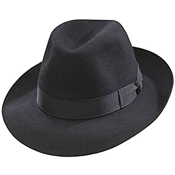 1703c7b2ac7 Borsalino Classic Fedora Hat-Black at Amazon Men s Clothing store