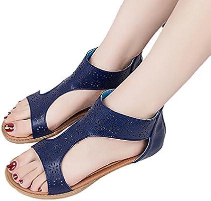 bd30c6e8c2091 Sunbona Women's Flat Gladiator Sandals Ladies Summer Open Toe Anti ...