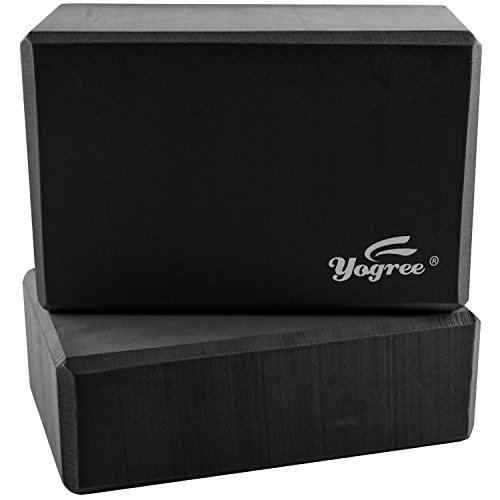 Yogree High Density EVA Foam Brick Yoga Block, (9 x 6 x 4) Inches – Black, 2 Piece
