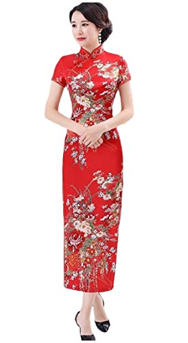KaWaYi Womens Stand Collar Satin Printing Vintage Party Costume Fit Cheong-sam Dresses AS9 XLarge ()