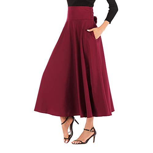 NREALY New Women's High Waist Pleated A Line Long Skirt Front Slit Belted Maxi Skirt(L, Red) ()