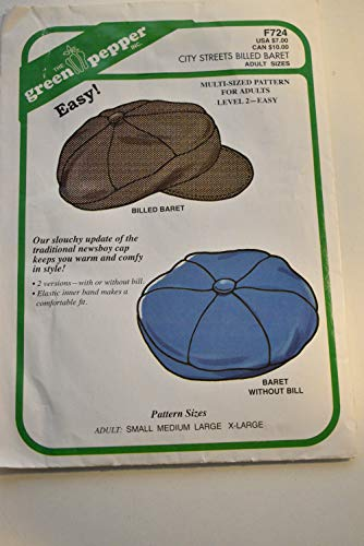 Green Pepper F724 Billed Baret - Newsboy Cap & Berret Sewing Pattern