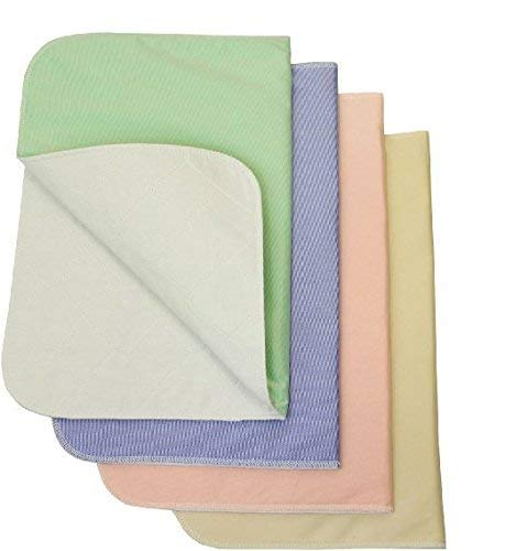 (Nobles 4 Pack - Waterproof Reusable Incontinence Underpads/Washable Incontinence Bed Pads - 1 of Each Color Green, Tan, Pink and Blue Size 17x24 - Great for Adults, Kids and)