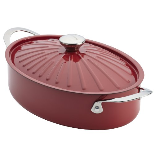 Rachael Ray Cucina Hard Porcelain Enamel Nonstick Covered Oval Sautéuse, 5-Quart, Cranberry - Pasta Oval Pot