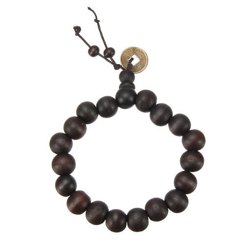 Wood Mala Tibet Buddhist Prayer Beads Bracelet with Chinese Coin The Gentlemenz Club Bracelet-102