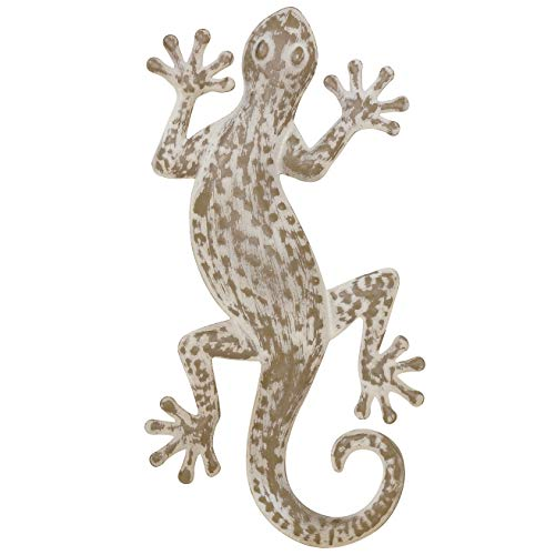 he Lucky Lizard, Island Style Tropical Gecko Wall Art, Distressed Finish, Beige with Rustic White, Lacquered Iron, Bas Relief Sculpture, 16 ½ Inches Long, By ()