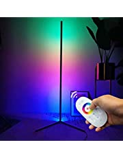 Corner Floor Lamp, RGB Color Changing Standing Light with Remote Control, 56 Inches Modern Nordic Aluminum Mood Light, Multiple Color Modes, for Home Store Bar Live Stream Party, Black